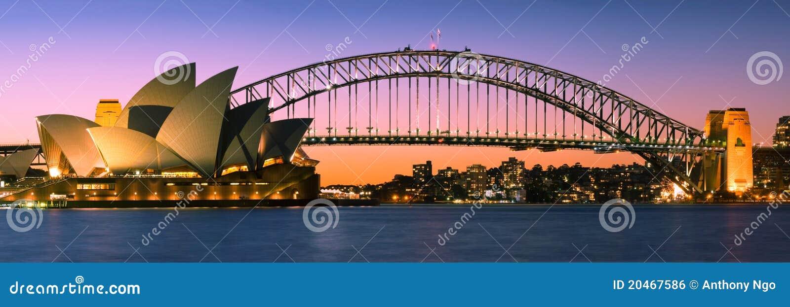 Panorama da skyline do porto de Sydney no crepúsculo