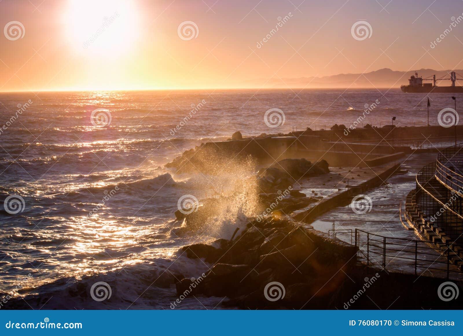Panorama de bord de la mer au coucher du soleil