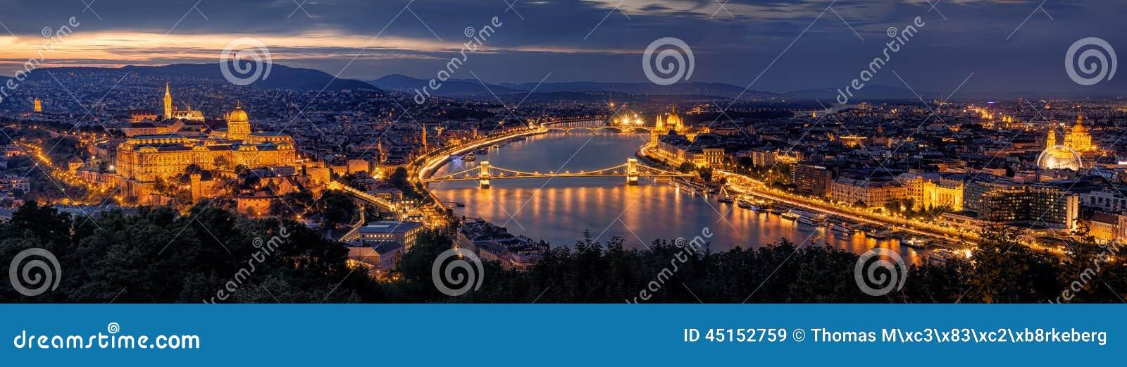 Panorama de Budapest par nuit