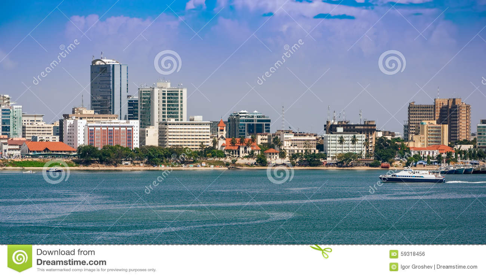 Panorama de centre de la ville de Dar es Salaam