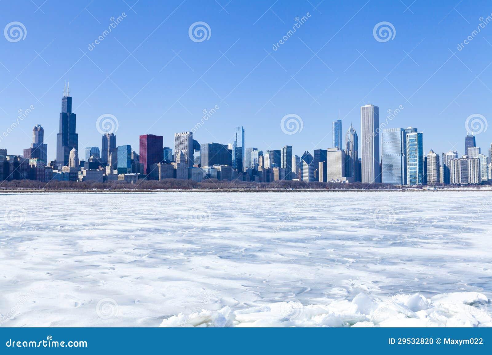 Panorama de Chicago no inverno