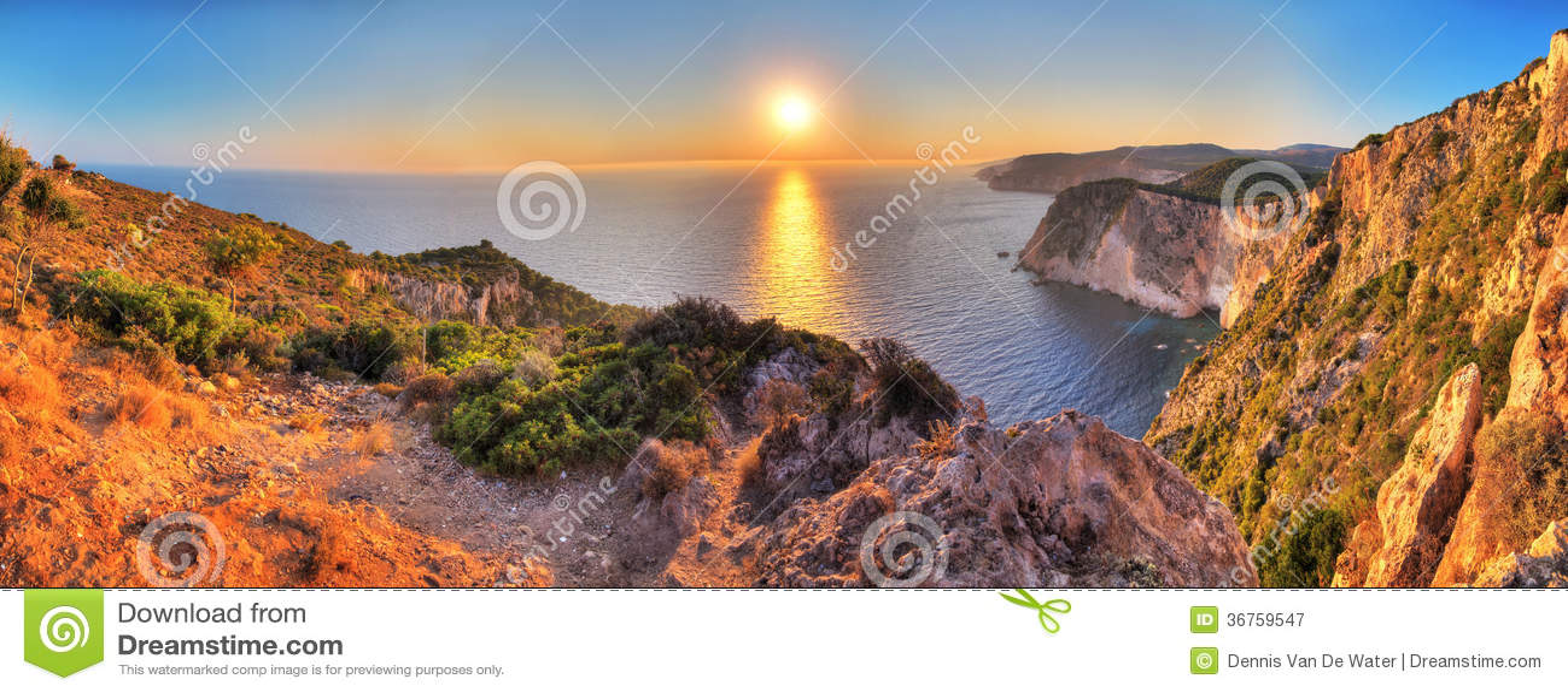 Panorama de coucher du soleil de Keri de cap