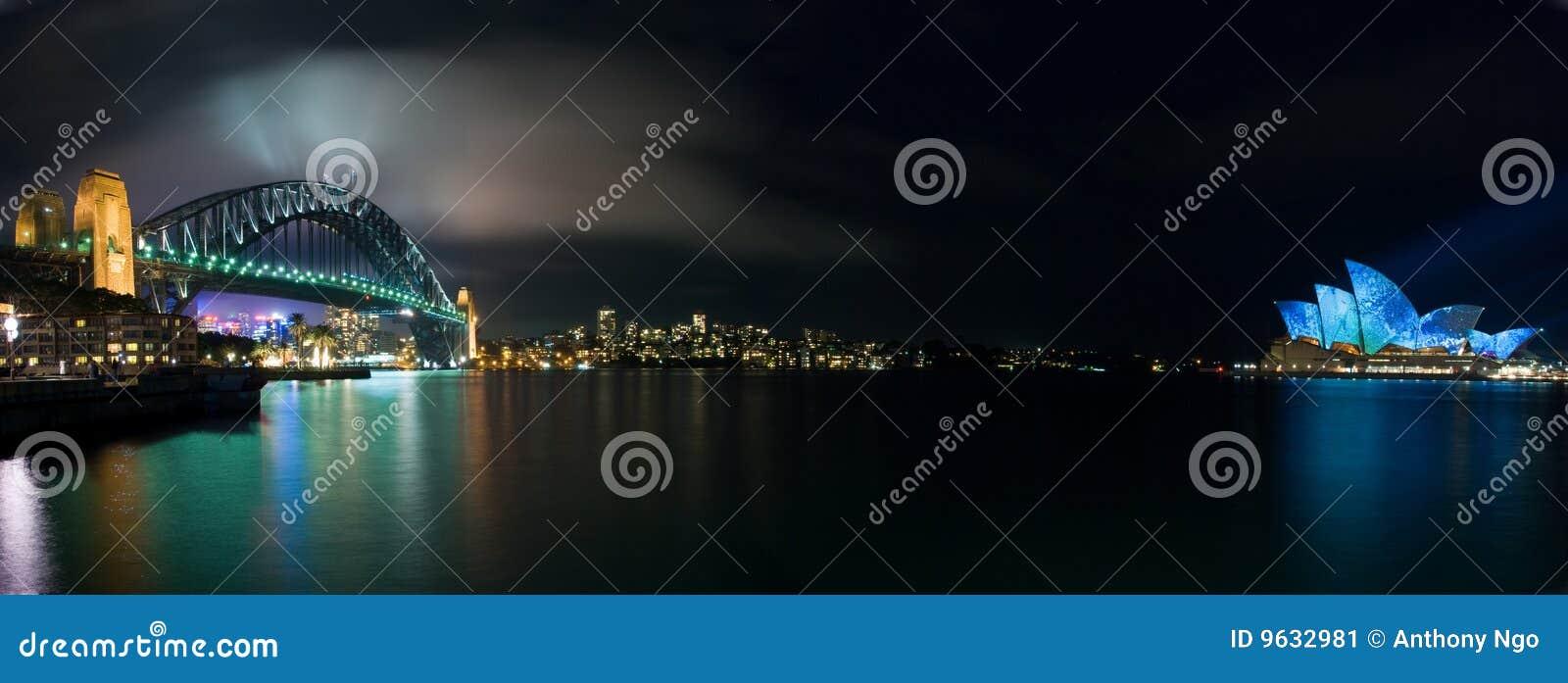 Panorama de iluminación luminoso del teatro de la ópera de Sydney