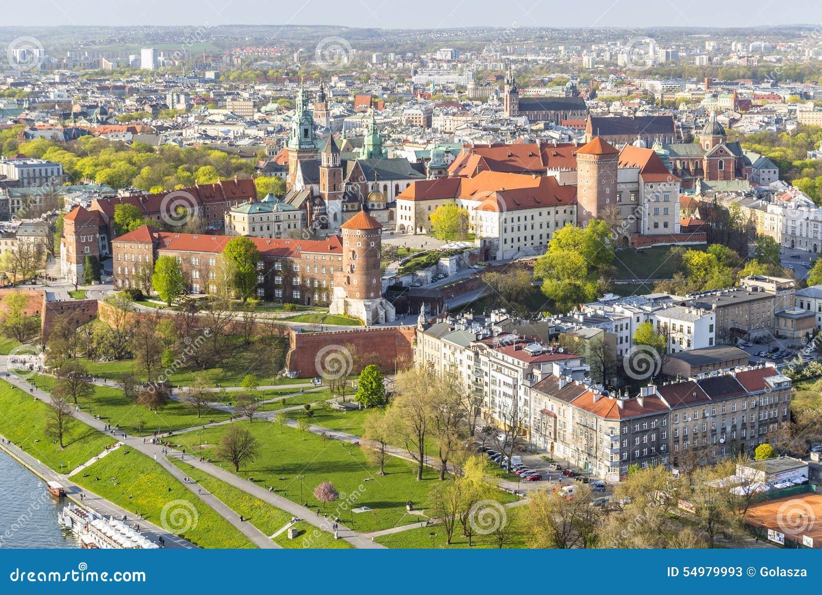 Panorama de Krakow bonito, antigo capital do Polônia, EUR
