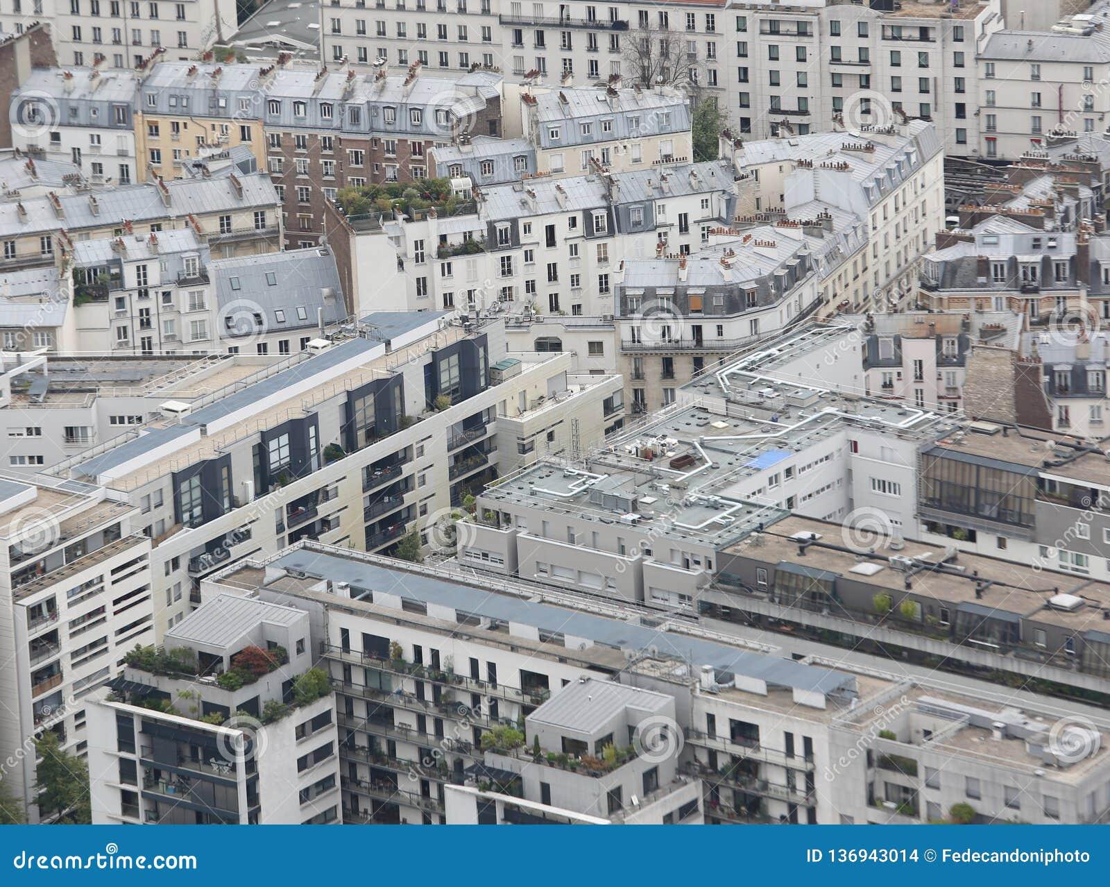 Panorama de la ciudad de París de la torre Eiffel
