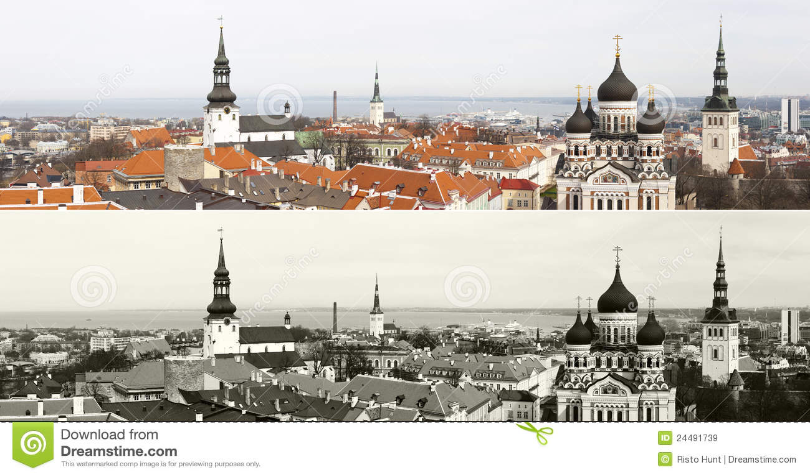 Panorama de la ciudad vieja de Tallinn, Estonia