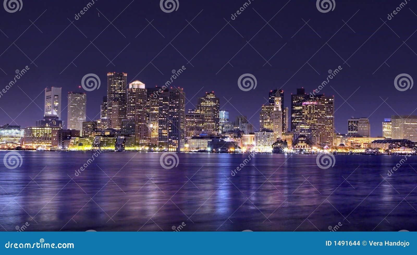 Panorama de la noche de Boston