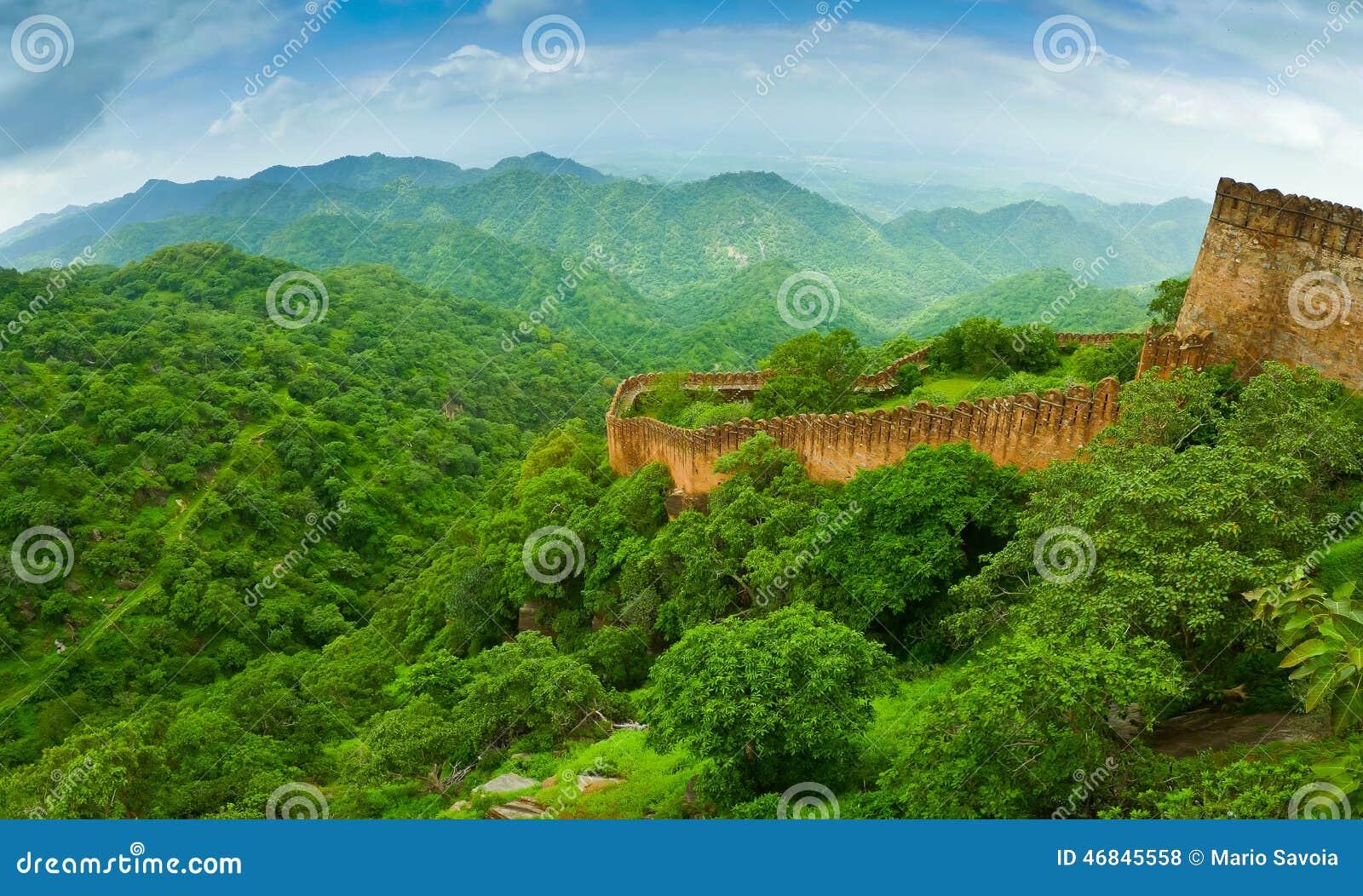 Panorama de la pared del fuerte de Kumbhalgarh