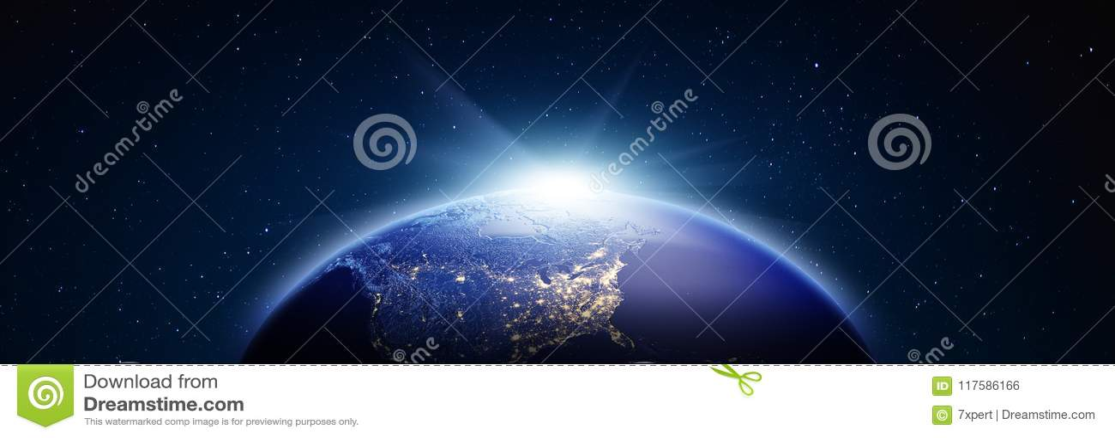 Panorama de la salida del sol de América representación 3d