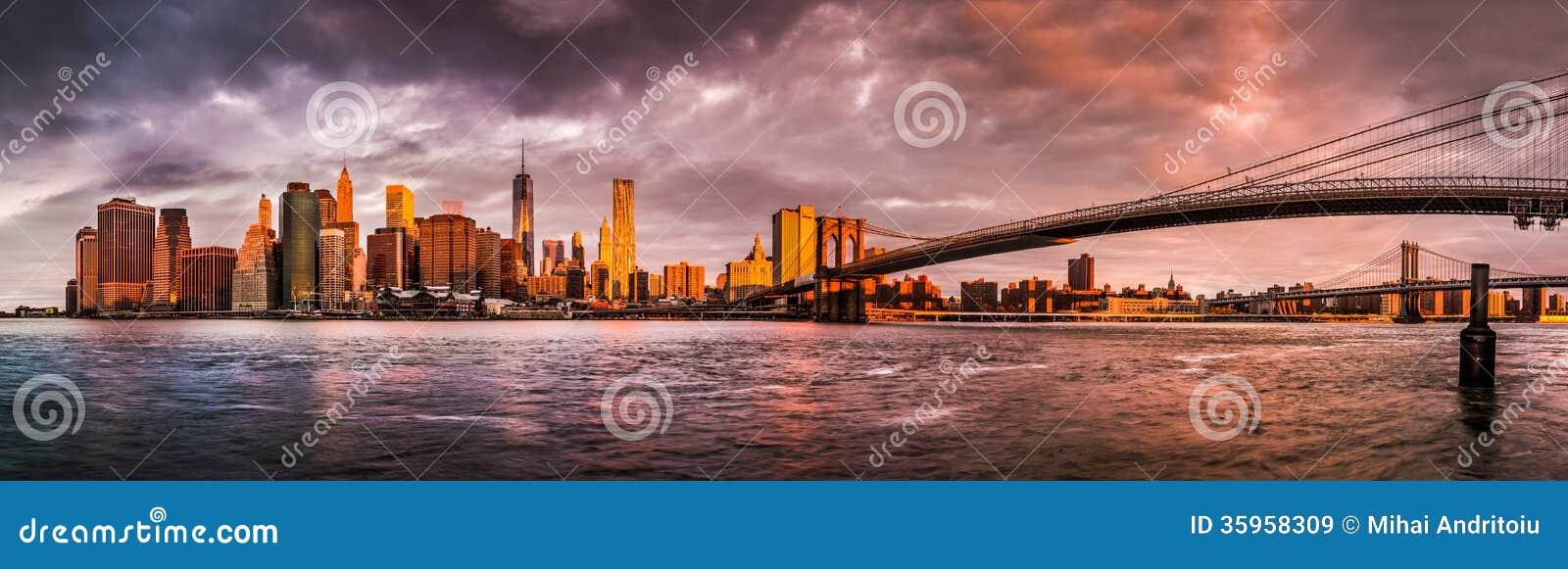 Panorama de la salida del sol de Nueva York