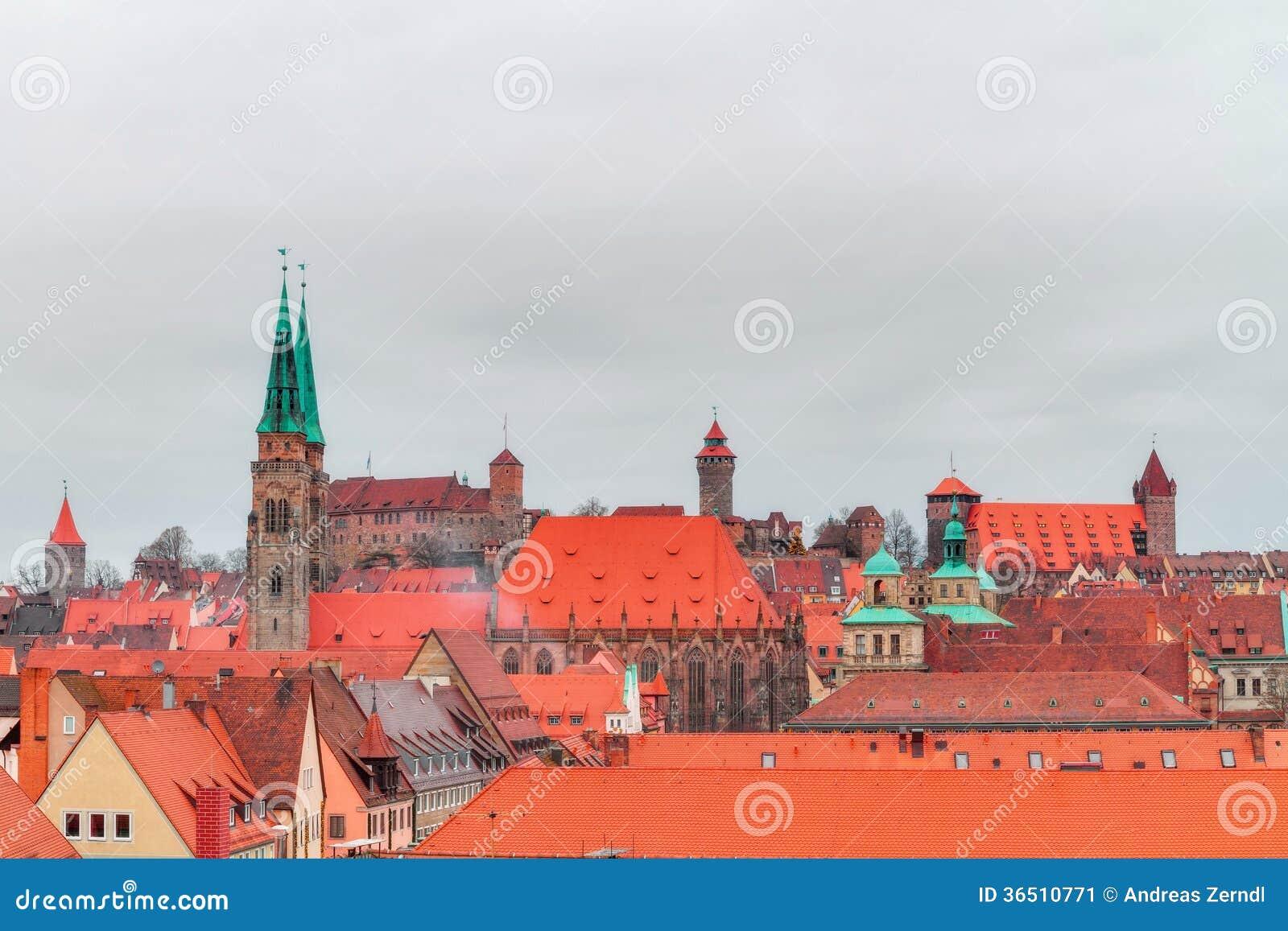 Panorama de la ville historique de Nuremberg en Bavière