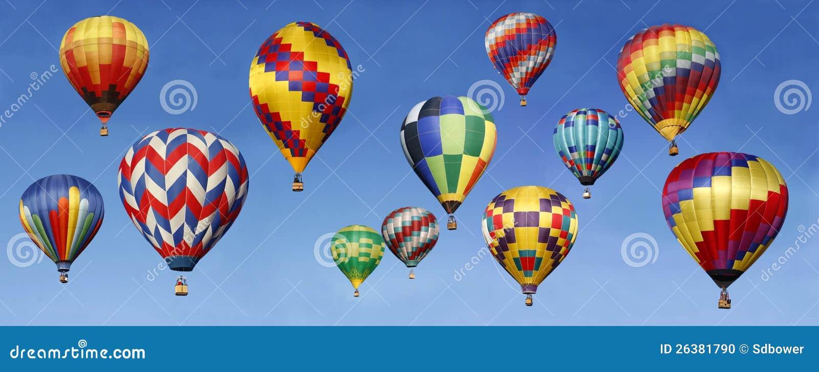 Panorama de los globos del aire caliente