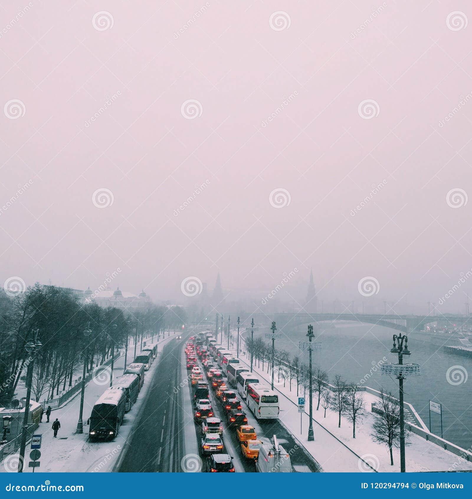 Panorama de Moscou durante um dia de inverno frio cinzento