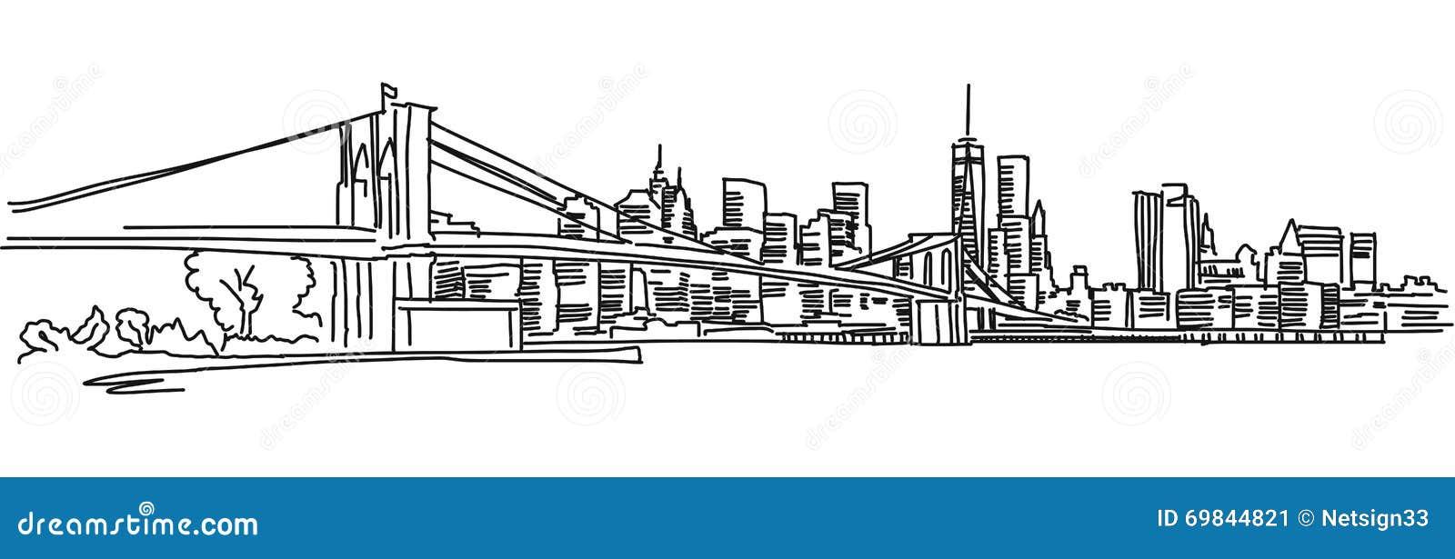Panorama De Nueva York Con El Puente De Brooklyn Ilustración del ...