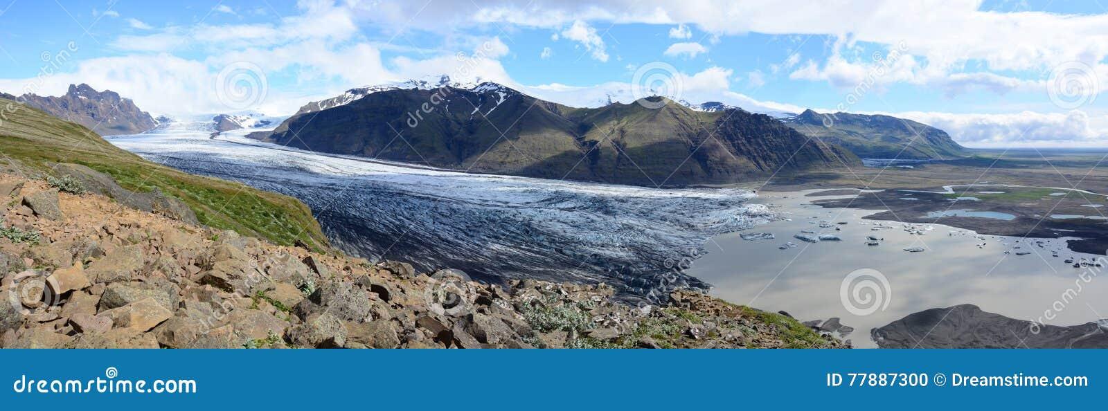 Panorama De Svinafellsjokull Foto de archivo