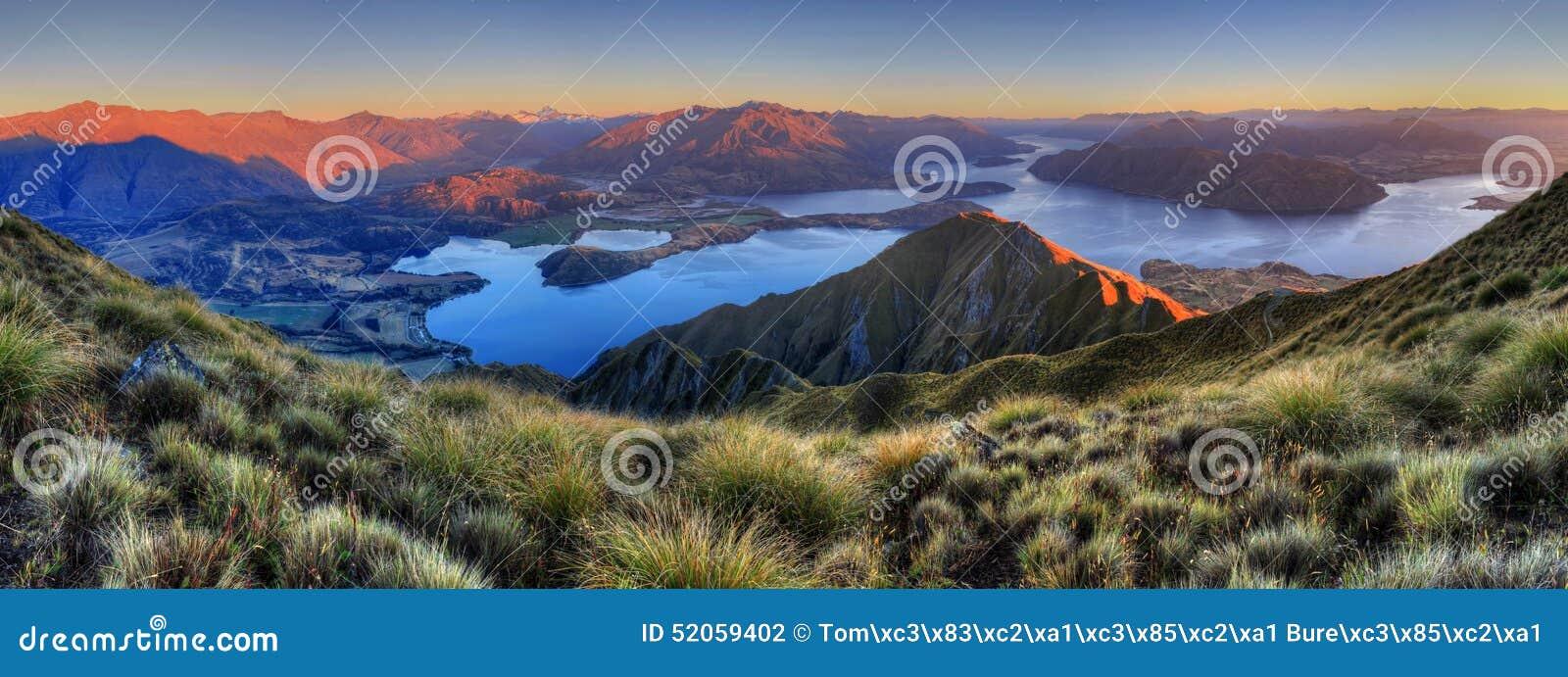 Panorama de Wanaka del lago