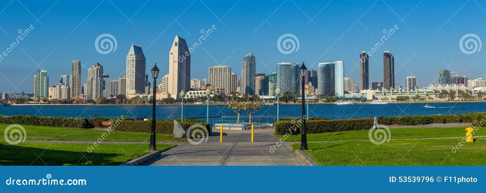 panorama del centro de la ciudad de san diego california foto de archivo imagen 53539796. Black Bedroom Furniture Sets. Home Design Ideas