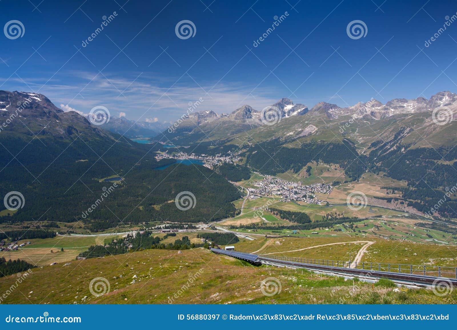 Panorama del Engadine superiore da Muottas Muragl
