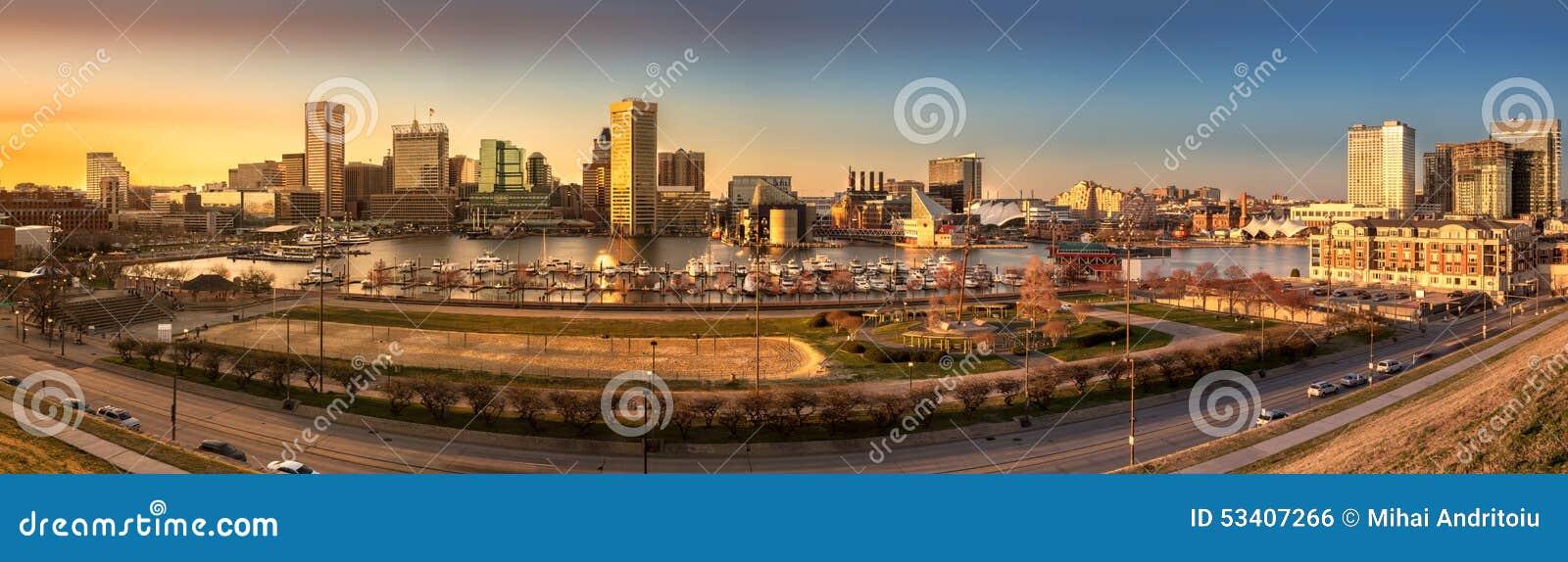 Panorama del horizonte de Baltimore en la puesta del sol