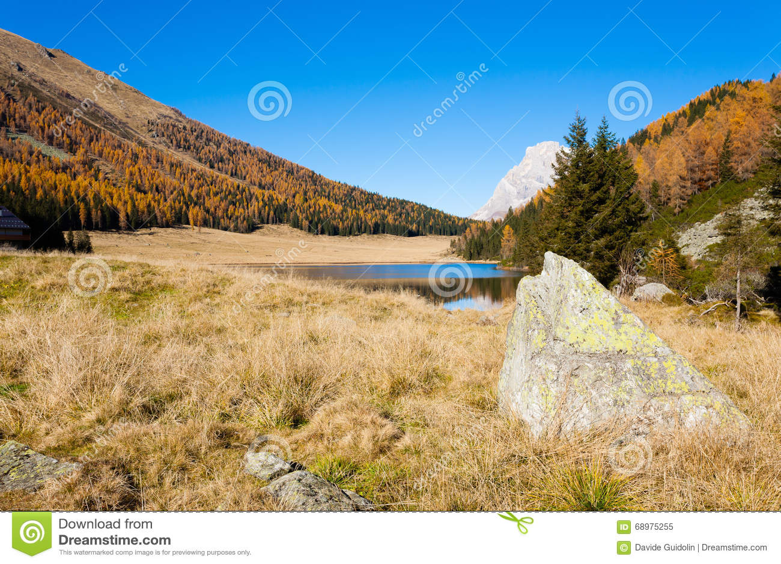 Panorama del lago, otoño
