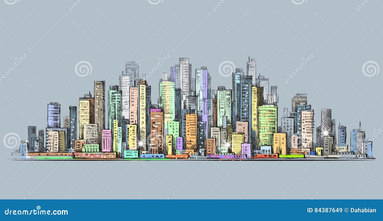 Panorama dell 39 orizzonte della citt paesaggio urbano for Disegno della casa di architettura