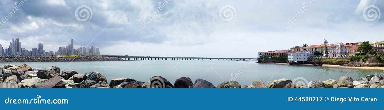 Panorama dell orizzonte di Panama City di antiguo di casco