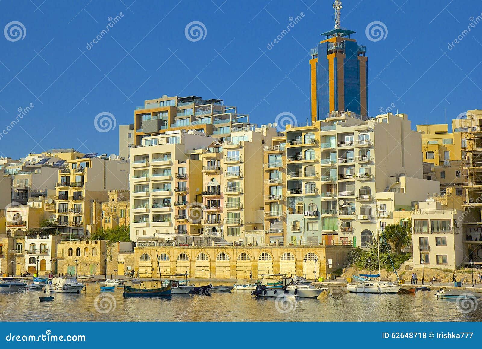 Panorama della st Julians a Malta