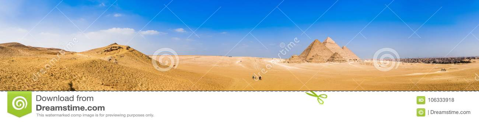 Panorama der großen Pyramiden von Giseh, Ägypten