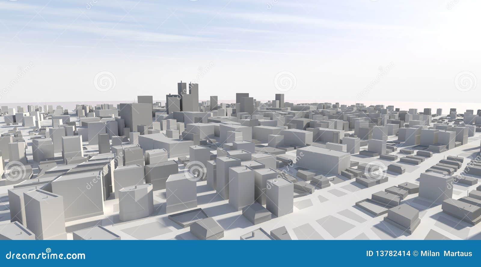 Panorama der stadt 3d stockbilder