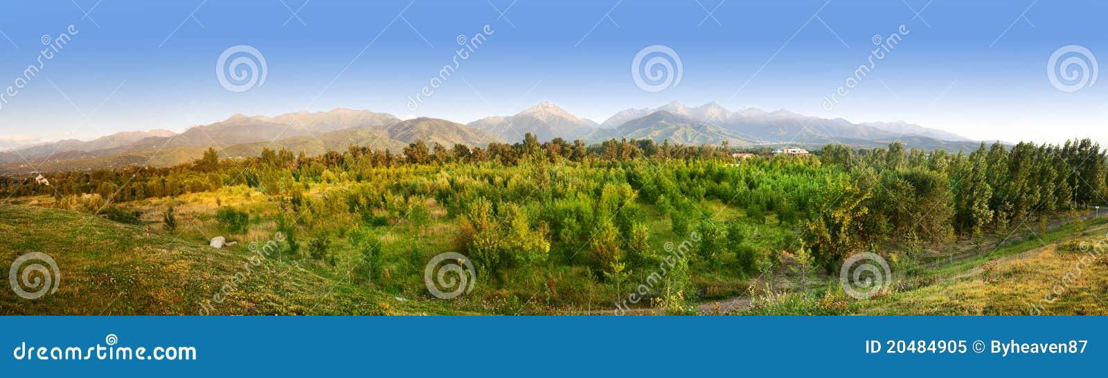 Panorama des montagnes de Zaili Alatau dans Kazakhstan