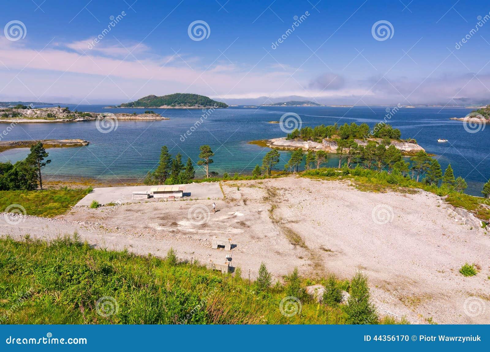 Panorama di estate del fiordo del mare di Norvegia
