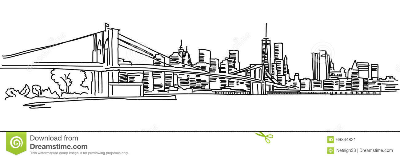 Panorama di new york con il ponte di brooklyn for Disegni di ponte anteriore