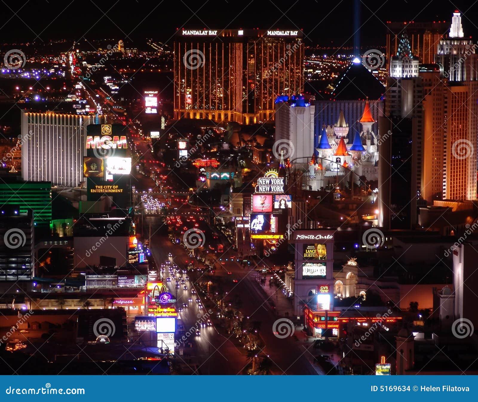 Panorama di notte di Las Vegas