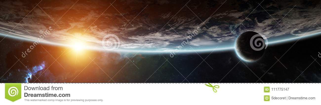 Panorama of distant planet system in space 3D rendering elements