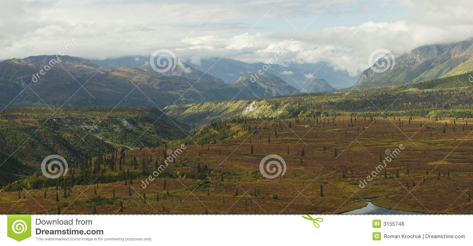 Panorama do alaskan da queda