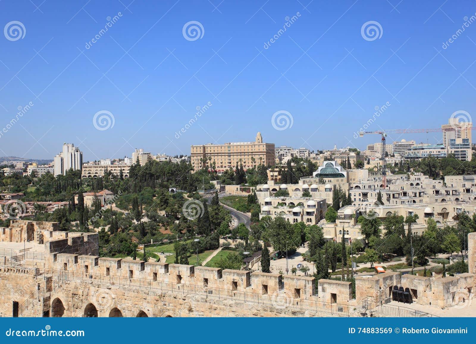 Panorama do Jerusalém com rei David Hotel