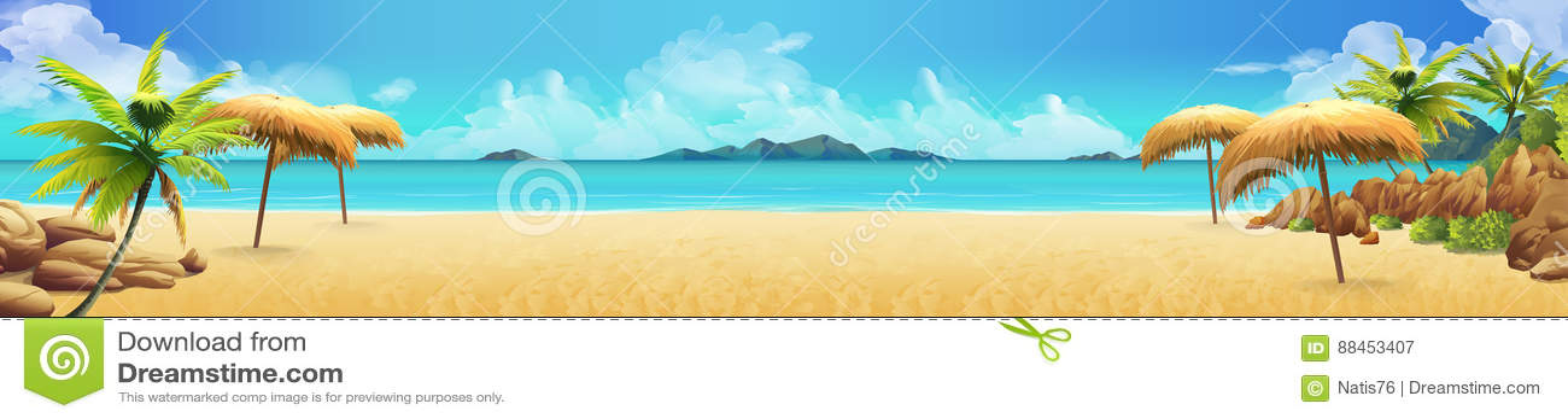 Panorama do mar, praia tropical Vetor