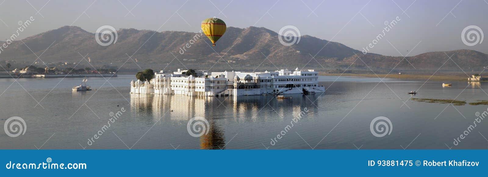 Panorama do palácio Jal Mahal Water Palace, Jaipur, Índia