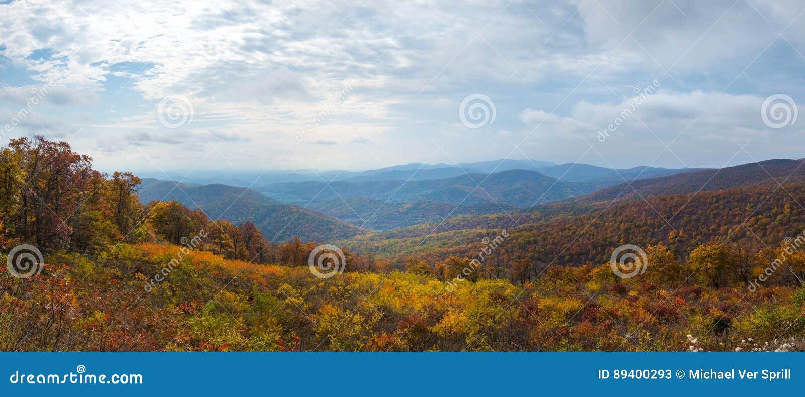 Panorama do parque nacional de Shenandoah