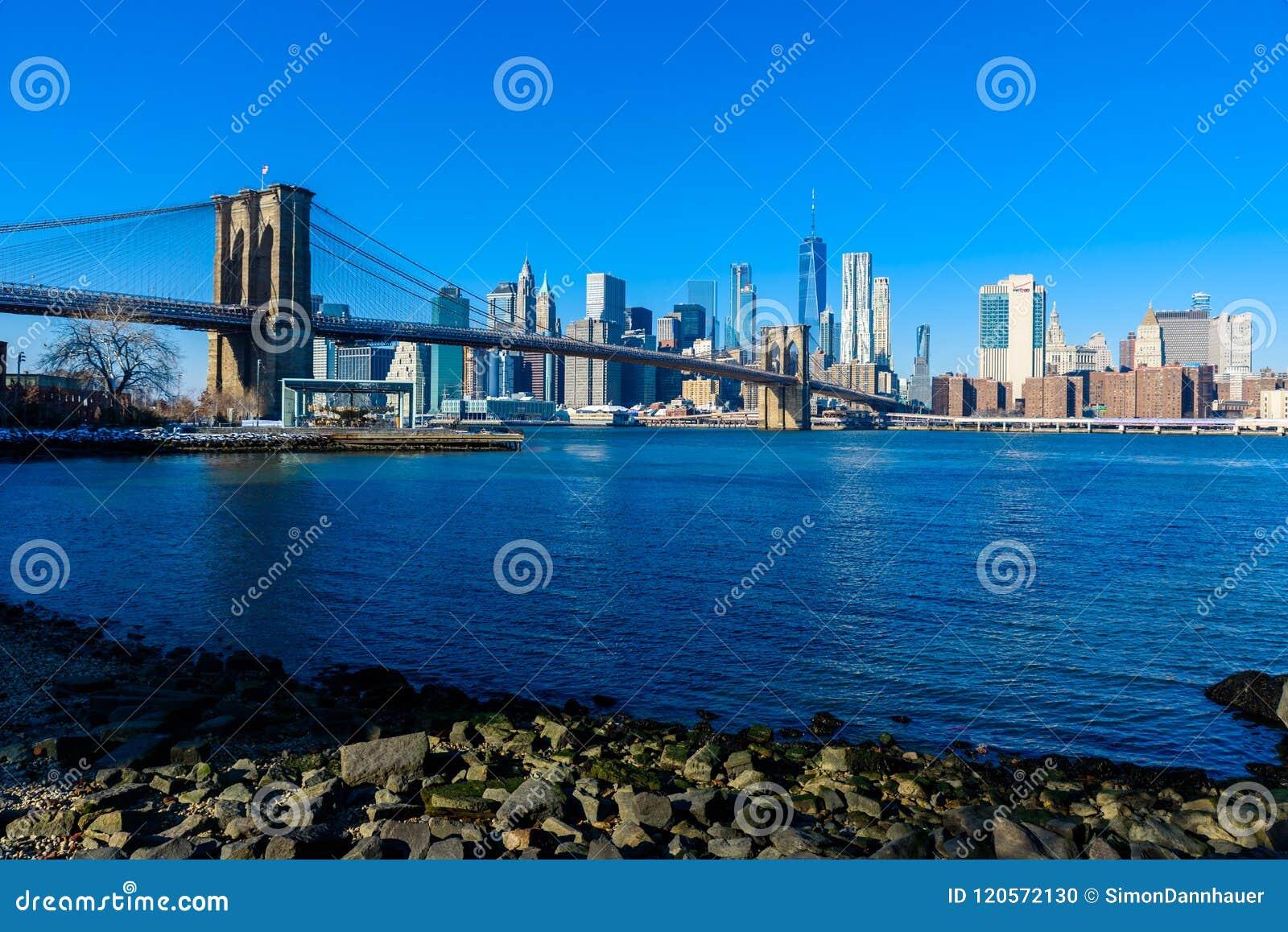 Panorama du centre d horizon de Lower Manhattan de rive de parc de pont de Brooklyn, New York City, Etats-Unis