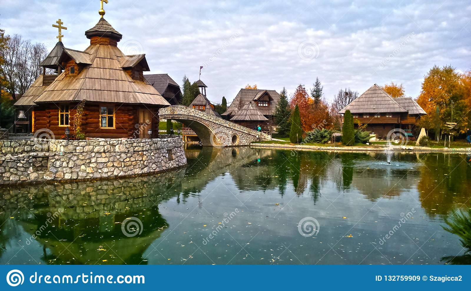 Ethno village Stanisici in Bosnia and Herzegovina,on the Pavloviceva road, autumn season