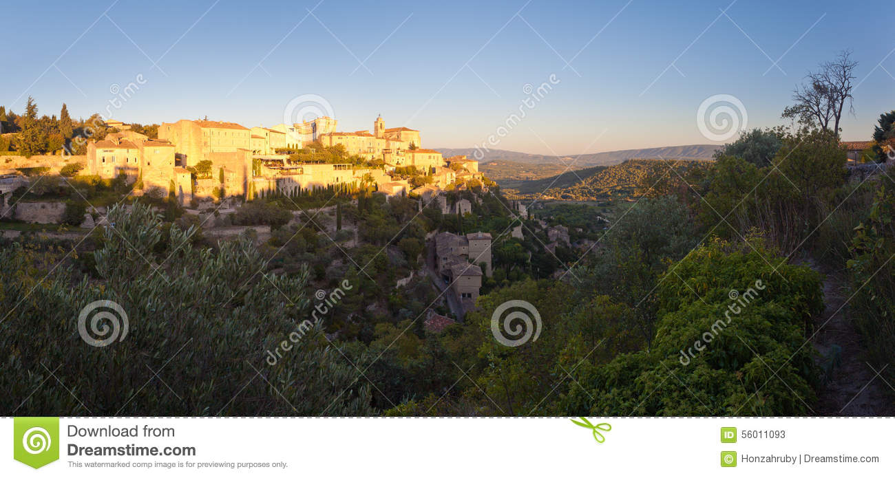 Panorama of famous Gordes medieval village sunrise view, Provence, France, Europe