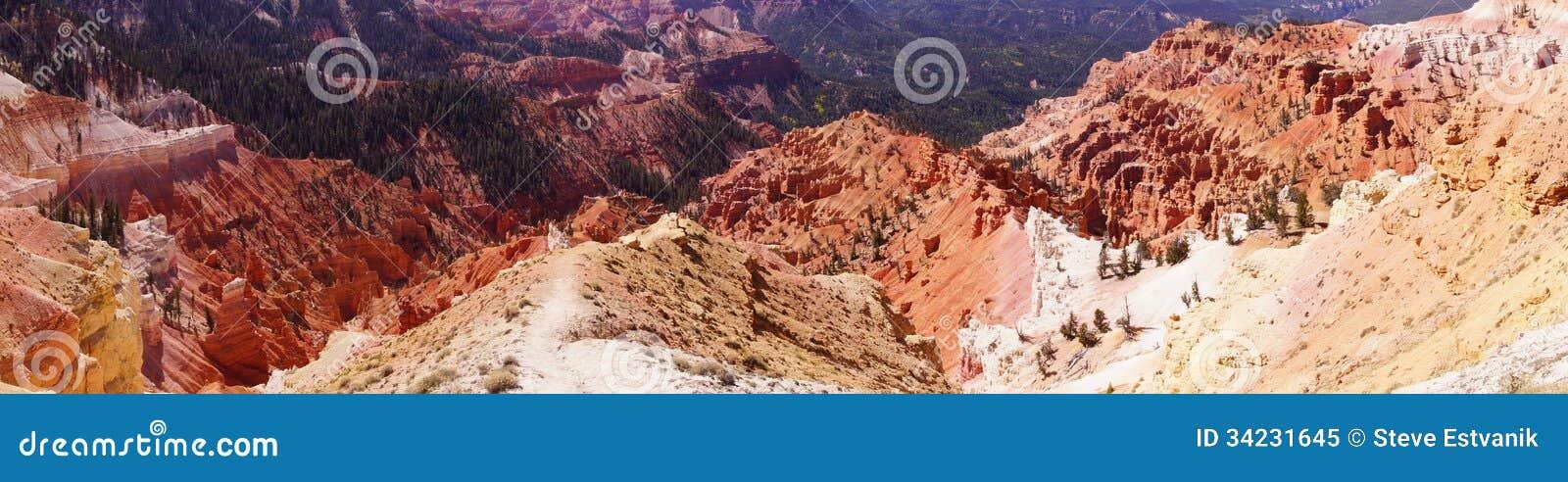 Panorama, fantasticly eroded red Navajo sandstone pinnacles