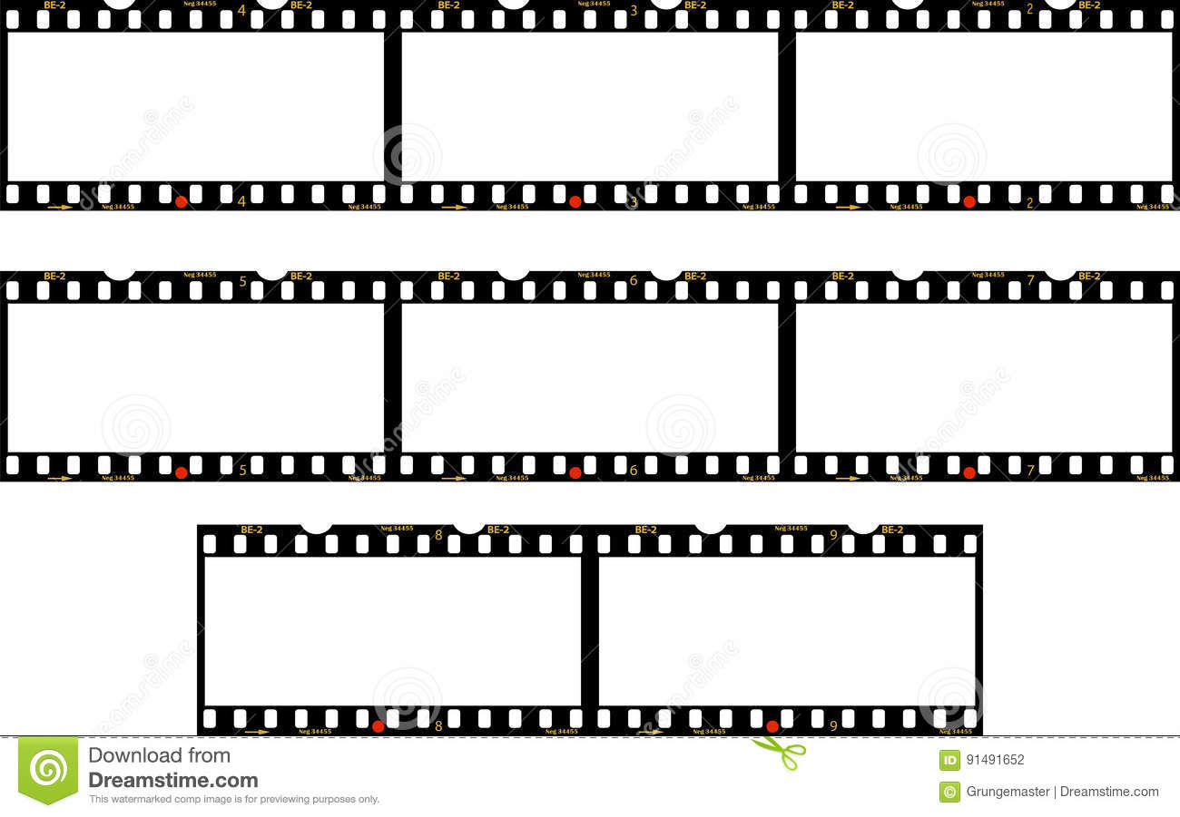 Panorama Frames Of Photo Film Stock Vector - Illustration of reel ...