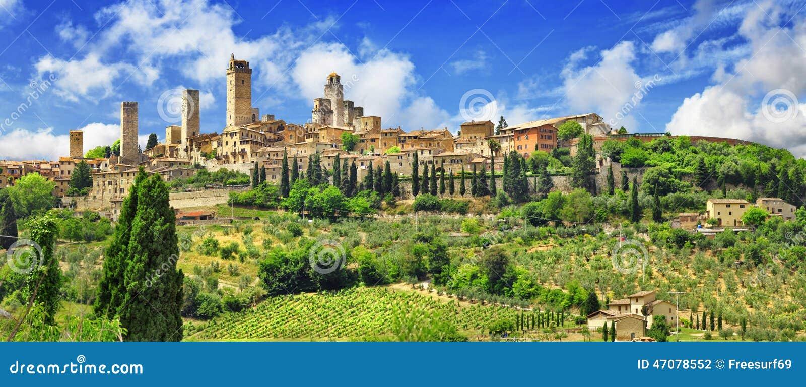 Panorama Gimignano, Toskana Italien