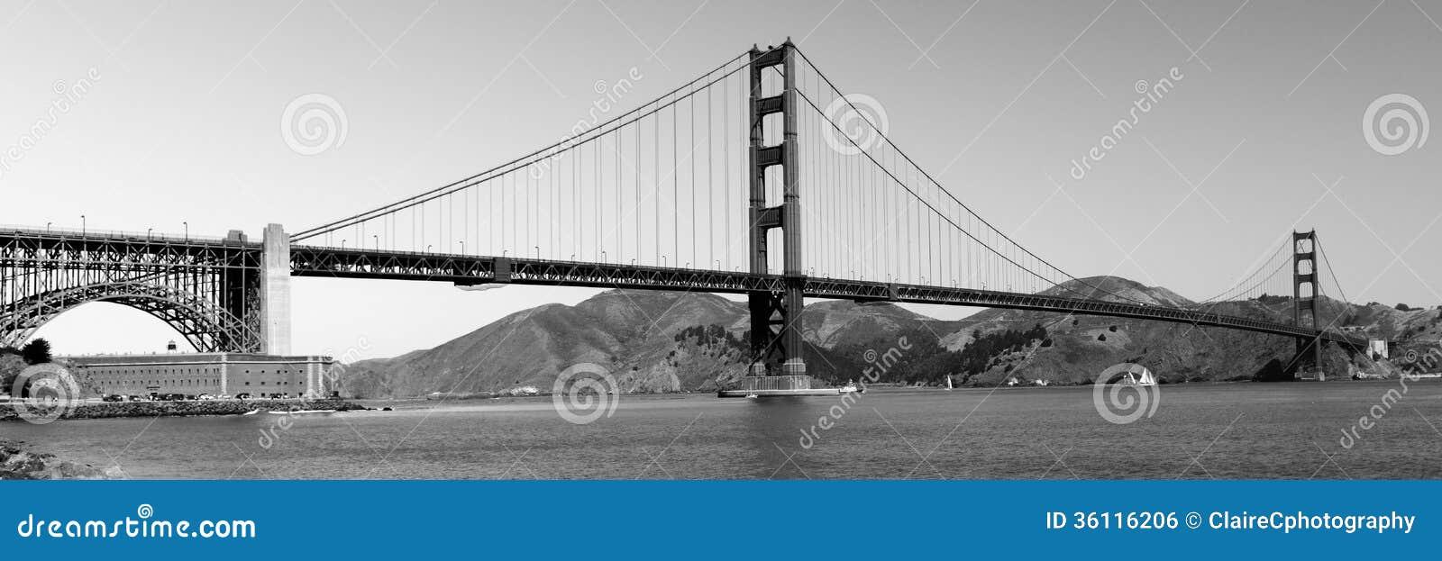 Panorama Of Golden Gate Bridge Royalty Free Stock Image