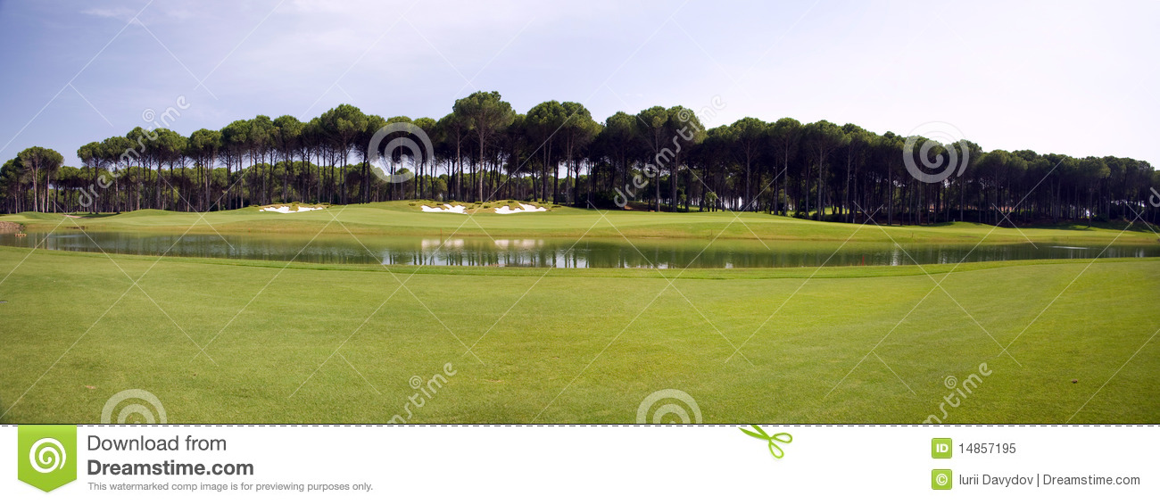 Panorama of golf club, green grass