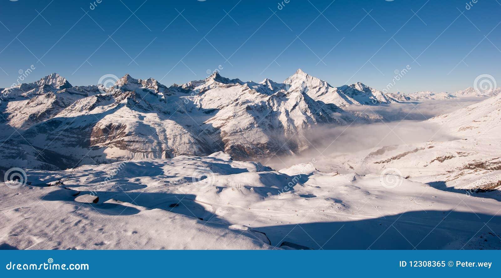 Panorama from gornergrat in winter