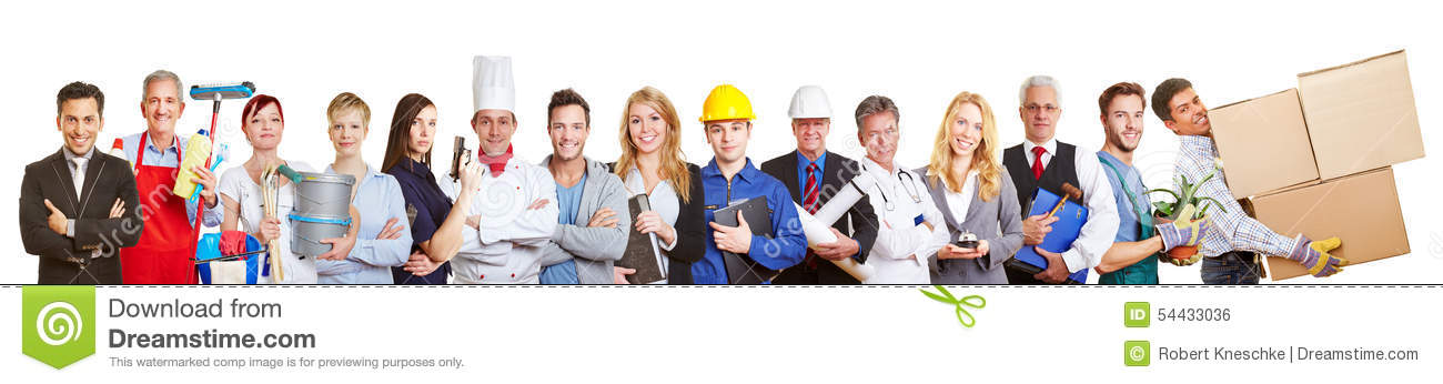 Panorama group of people from many trades and professions