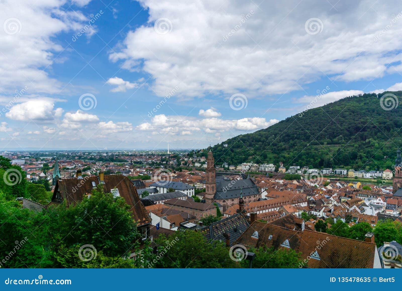 Panorama Heidelberg przy niebieskim niebem Baden-Wuerttemberg, Niemcy
